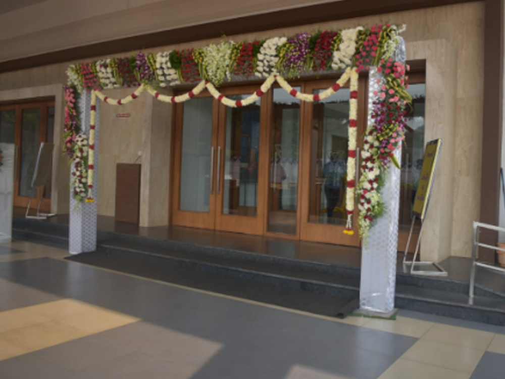wedding hall main gate entrance gate with natural flowers